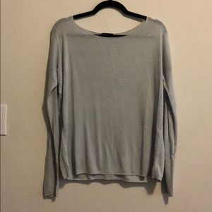 New Theory ice blue linen boatneck pullover knit